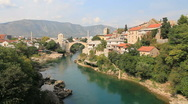 Stock Video Footage of Mostar Old Bridge in Bosnia