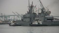 Navy Destroyer Enters Port Stock Footage