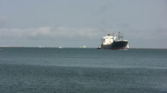 Empty Cargo Freighter Enters Port Stock Footage