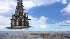 A Cathedral half sunk in a sea of water.  Stock Footage