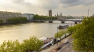 Houses of Parliament, River Thames, London Timelapse Stock Footage