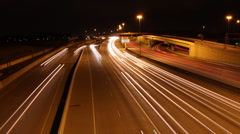 Thirteen Lanes of Highway at Night Timelapse Stock Footage