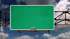 Blank Road Sign Green Screen Stock Footage