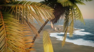 (1233Rev) Romantic Tropical Vacation Palms Trees Surfboards Beach Chairs Surf Wa Stock Footage