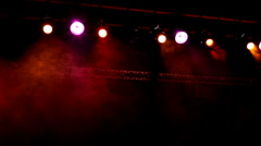 Lights at Concert with Fog going by Stock Footage