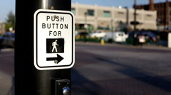 Push button to Walk sign in City Stock Footage