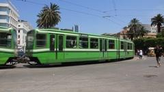 Greem tramway in Tunis, Tunisia Stock Footage