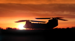 Chinook twin-blade helicopter lifts off - stock footage