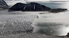 Fog over the Arctic glacier - stock footage