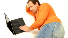 Man with laptop, isolated Stock Footage
