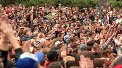 Large Crowd Outdoors Applau Stock Footage