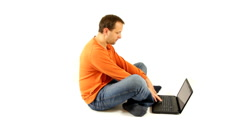 Man working on laptop, isolated  Stock Footage