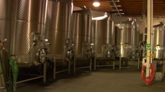 Wine Tanks in Barrel room at vineyard Stock Footage