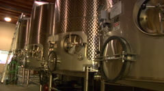Steel tanks in Barrel room at vineyard Stock Footage