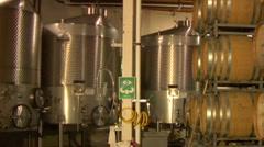 Steel tanks in Barrel room at vineyard Stock Footage