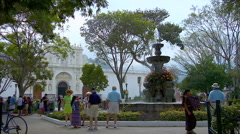 Fountain in town square in Guatemala  Stock Footage