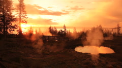 Morning at West Thumb, Yellowstone BigWeb Stock Footage