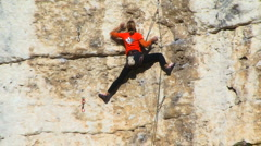 Female Climber Stock Footage