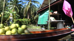 Cruising Damnernsaduak Floating Market Thailand Stock Footage