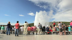 Visitors at Old Faithful Geyser BigWeb Stock Footage