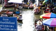 Damnernsaduak Floating Market Thailand Stock Footage