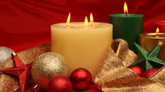Christmas candles burning - stock footage