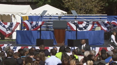 Empty Stage Before Political Pep Rally For Obama  Stock Footage