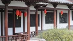 Oriental lanterns display at temple Stock Footage