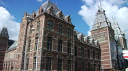 Stock Video Footage of Clouds over classic Amsterdam building