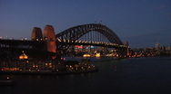 Stock Video Footage of Sydney Harbor Bridge at Night