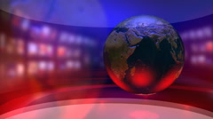 Virtual News Studio with Globe - stock footage
