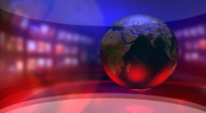 Stock Video Footage of Virtual News Studio with Globe