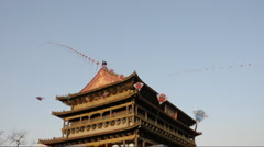 Kites over Drum Towe in the xi'an  Stock Footage