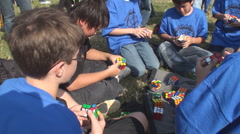 Champion FAST Rubiik's Cube Competition on National Mall - stock footage