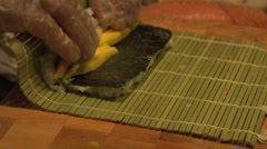 Sushi Chef making Shrimp Roll  Stock Footage