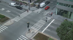 Stock Video Footage of NYC Crosswalk from Above - Time Lapse - 1