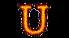 Fire letter U HD Stock Footage