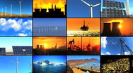 Montage of Clean Energy & Fossil Fuel Pollution Stock Footage