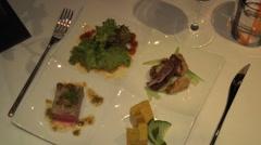 Beautiful Japanese dinner plate of food Stock Footage