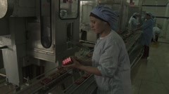 Quality Check at Sardine Cannery in Morocco - stock footage