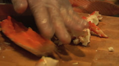 Sushi chef Cracking crab legs Stock Footage