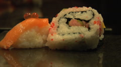 Sushi at restaurant CU Stock Footage