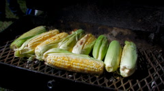 Cook turning corn on cob on barbecue grill Stock Footage