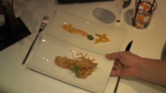 Waiter serves shrimp Tempura at fancy Restaurant Stock Footage