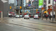 Toronto traffic and street car 'rocket' Stock Footage