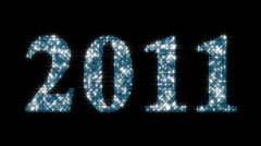 New year 2011 glowing blue particles with alpha matte Stock Footage