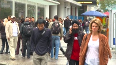 People crowds in downtown Toronto, med shot Stock Footage