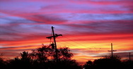 Stock Video Footage of 4K video 30p Red skies at night - telephone pole silhouette Arizona sunset