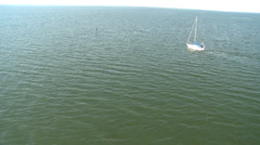Aerial Sail Boat Motoring Stock Footage