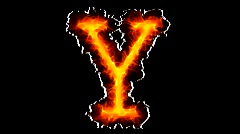 Fire letter Y HD Stock Footage
